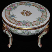 Nippon Morimura Bros Hand-Painted Footed Trinket or Jewelry Box - ca. 1910