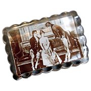 Vintage Glass Paperweight with Stand - Edwardian Scene