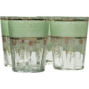 Set of Four Enameled Water or Lemonade Glasses - Mint Green