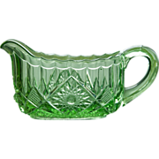 EAPG Green Glass Creamer - Pattern Glass