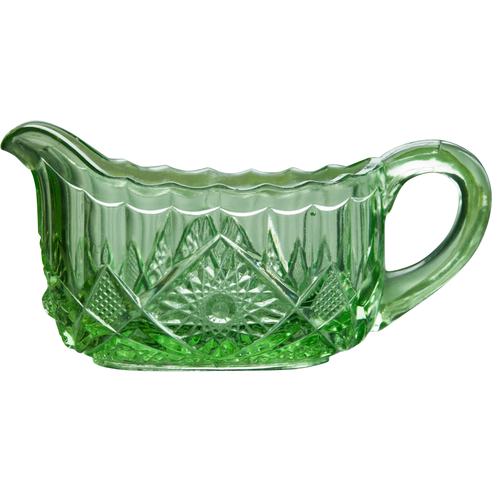 EAPG - INDIANA GLASS PANELED DAISY FINECUT GLASS PUNCH