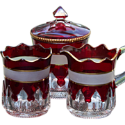 McKee EAPG Glass Ruby Stained Gothic or Spearpoint Creamer, Sugar and Spooner - RARE