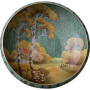 Nippon Morimura Bros Hand Painted Console Bowl - Pastoral Theme with Birch Trees