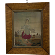 19th Century English Embroidery of Young Girl with Stalks of Wheat on Silk in Birds Eye Maple Frame