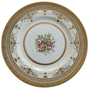 Minton Gold Encrusted Dinner Plate  with Bands, Swags and Floral Center Pattern H4892 0 - Signed A. Fox