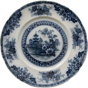 Yeddow Flow Blue Dinner Plate by Royal Staffordshire Pottery - Burslem, England