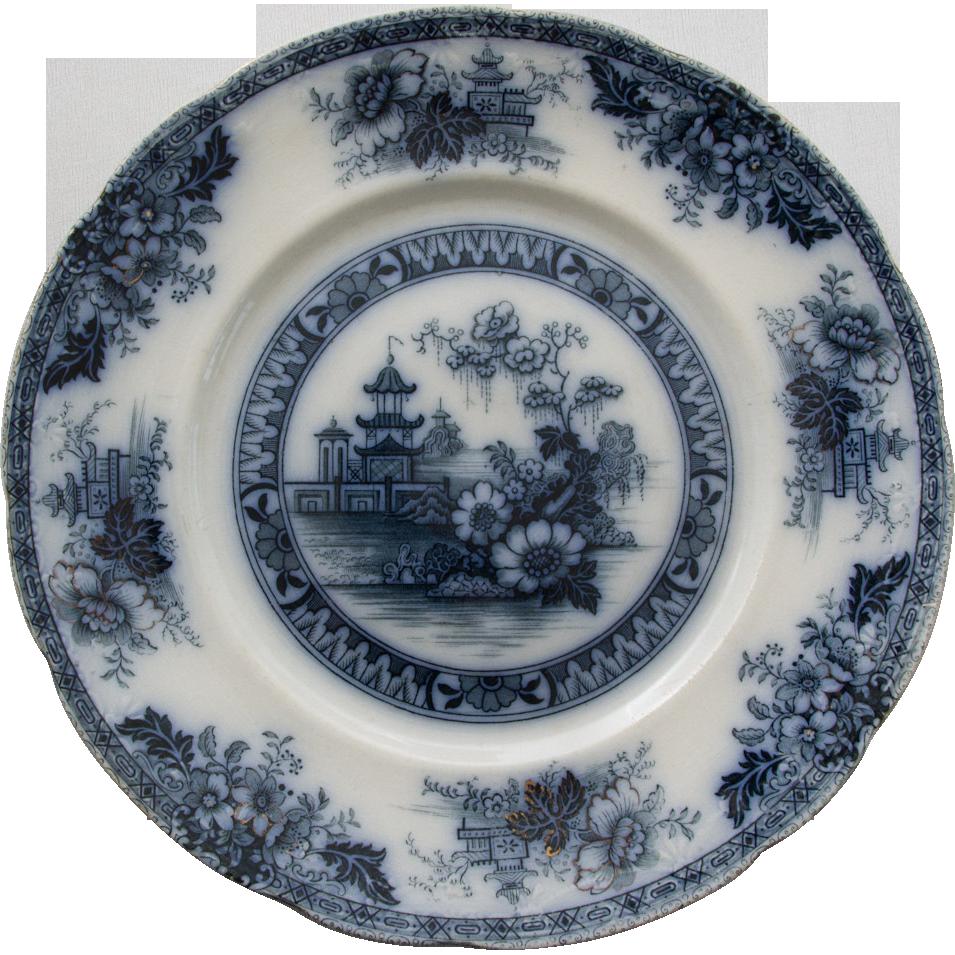 Yeddow Flow Blue Dinner Plate by Royal Staffordshire