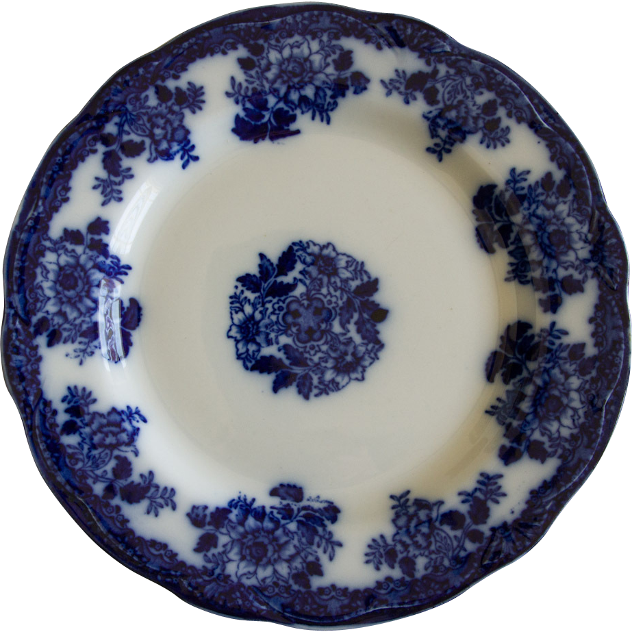 Gorgeous flow blue plate in waldorf pattern by new wharf for Pottery patterns