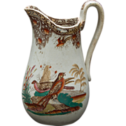 Transfer and Polychrome Milk or Cream Pitcher featuring Falcons and Pheasants