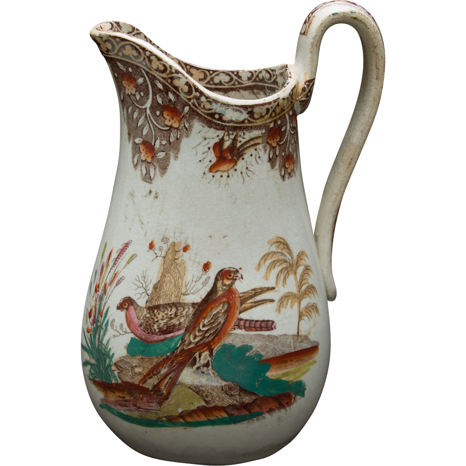 Transfer and Polychrome Milk or Cream Pitcher featuring Falcons and Pheasants - Red Tag Sale Item