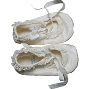 Mrs. Day's IDEAL Baby or Doll Shoes - Ivory Satin Crib, Christening or Ballerina Style - Small Size