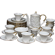 Royal Stafford Old English Oak Coffee or Tea Service for Six with Twelve Dessert or Salad Plates