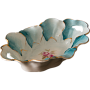 Gorgeous Hand Painted Porcelain Teal and White Pin Dish - Rose Motif with Gold Accents