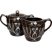 Mottled Brown Creamer and Sugar with Silver Overlay - Art Nouveau Style