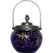Small Victorian Cobalt Blue Biscuit or Sweetmeat Jar - Mustard Yellow Enamel