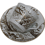 "Gustafsberg ""Peking"" Demittasse Cup and Saurcer - ca. 1910 - Brown and White Transfer"