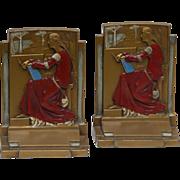 "Pair of Pompeian Bronze Art Deco Bookends - ""Meditation"" - c. 1925 - Original Paint"