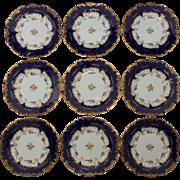 9 Minton Salad or Dessert Plates for Birks - Cobalt Blue and Gold - Pattern H4400