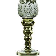 Bohemian Roemer Etched Wine Glass