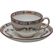 Minton Rose Footed Cup and Saucer - ca. 1900