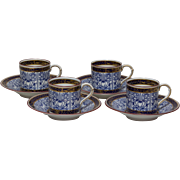 Royal Worcester Lilly Demitasse Cups and Saucers - Set of Four - 1903