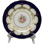 Royal Worcester Cobalt and Gold Dinner Plate