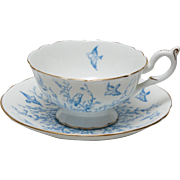 Coalport Footed Tea Cup and Saucer - Pattern 8365 in Light Blue