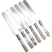Set of Six (6) MOP Pearl Dinner Knives with Sterling Ferrules
