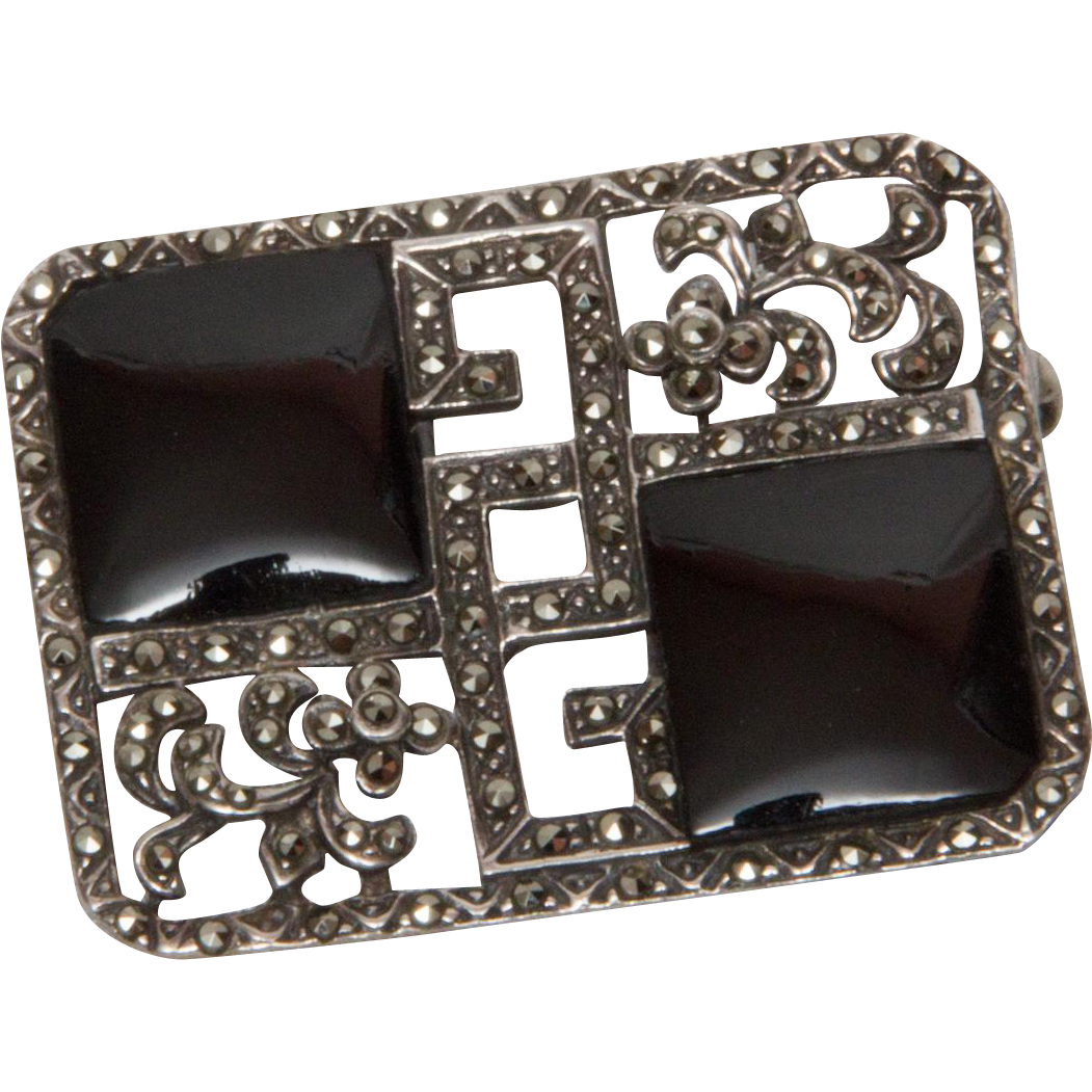 Art Deco Sterling Onyx And Marcasite Pin From Arttiques On Ruby Lane