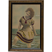 Hand Tinted Picture of Young Lady in Period Bathing Suit