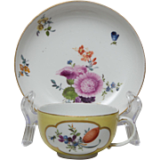 Early Meissen Tea Cup and Saucer - Yellow Ground