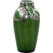 Loetz Green Metallin Art Glass Vase - Silver Overlay