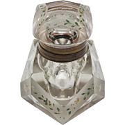 Beveled and Painted Glass Inkwell