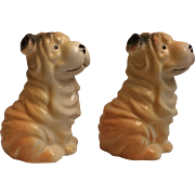 Vintage Sharpei Dog Salt and Pepper