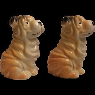 Vintage Sharpei Dog Salt and Pepper