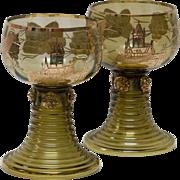 Pair Bavarian Cochem Castle Gold Leaf Wine Glasses