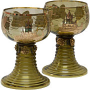 Pair Bavarian Cochem Castle Gold Leaf Wine Glasses