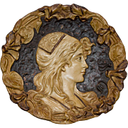Art Nouveau Lady Plaque in High Relief