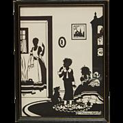 "Vintage Silhouette Bath Time - ""Saturday Night"""