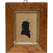 Boy Silhouette in Birds Eye Maple Frame