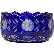 Vintage Bohemian Cobalt Cut to Clear Low Bowl