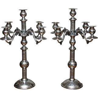 "Huge Pair Victorian Candelabra - Aesthetic Movement - 22"" Tall"