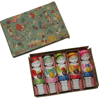 Boxed Set of Five Bisque Dolls