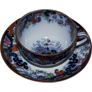 Ridgway Flow Blue Breakfast Cup and Saucer  - Corey Hill