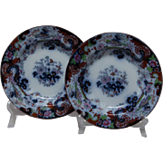 Pair of Ridgway Flow Blue Shallow Bowls - Corey Hill