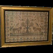 Very Large Sampler - Elizabeth Coates 1845 - Nature Motif - Lions, Butterflies, Birds