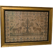 Very Large Sampler - Elizabeth Coates 1845 - Nature Motif - Lions, Butterflies, Birds