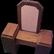 1940's Strombecker Solid Walnut Dollhouse Vanity missing mirror