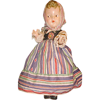 """Russian costume doll 13"""" all compo side glancing painted eyes"""