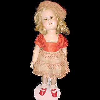"""15"""" Compo Madame Alexander Sonja Henie tagged dress 1940's"""